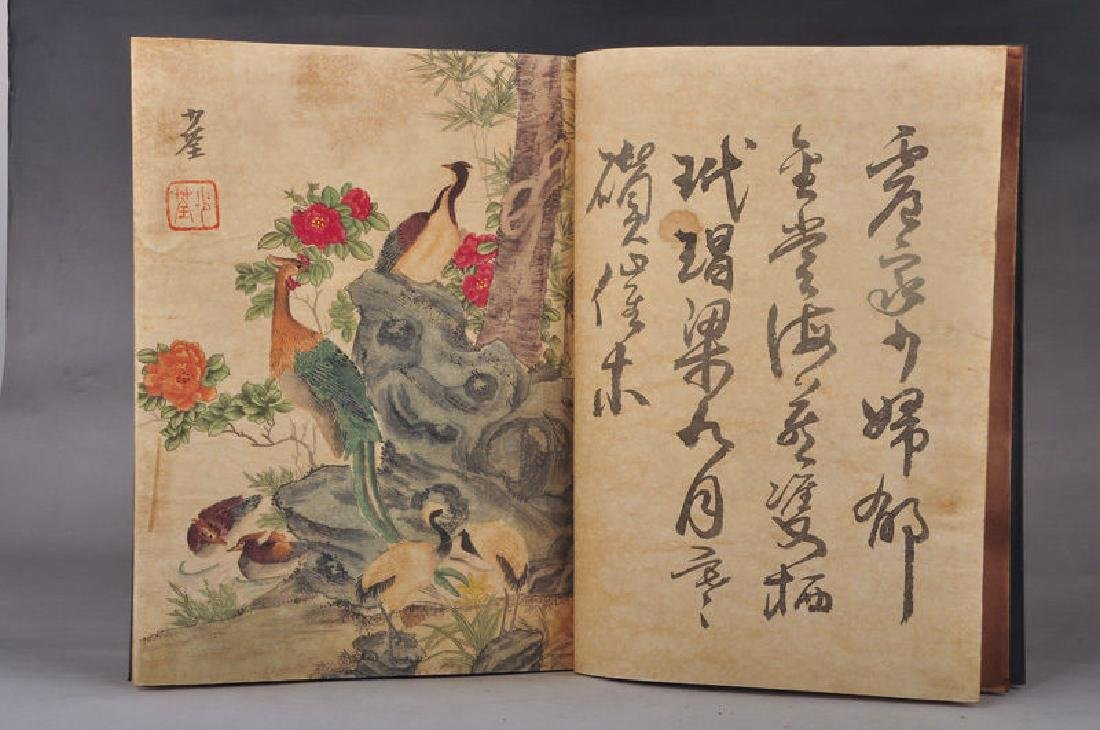 Chinese Hand-Painted Calligraph & Animals  Signed Book - 3