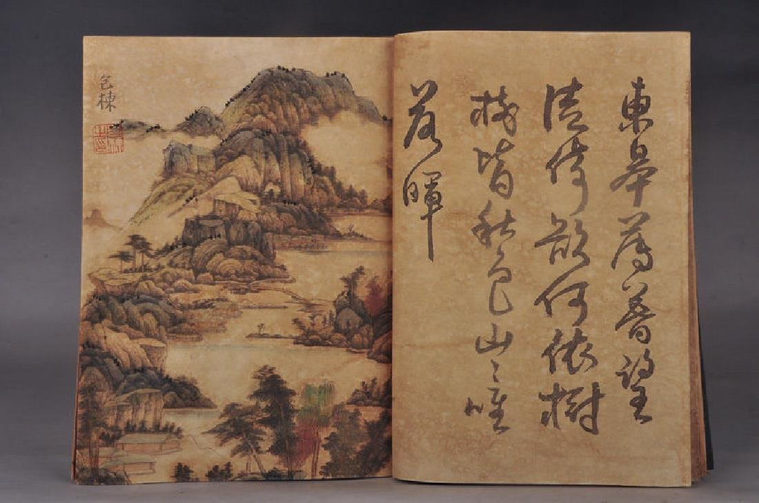 Chinese Hand-Painted Calligraph & Landscaping  Sig Book - 3