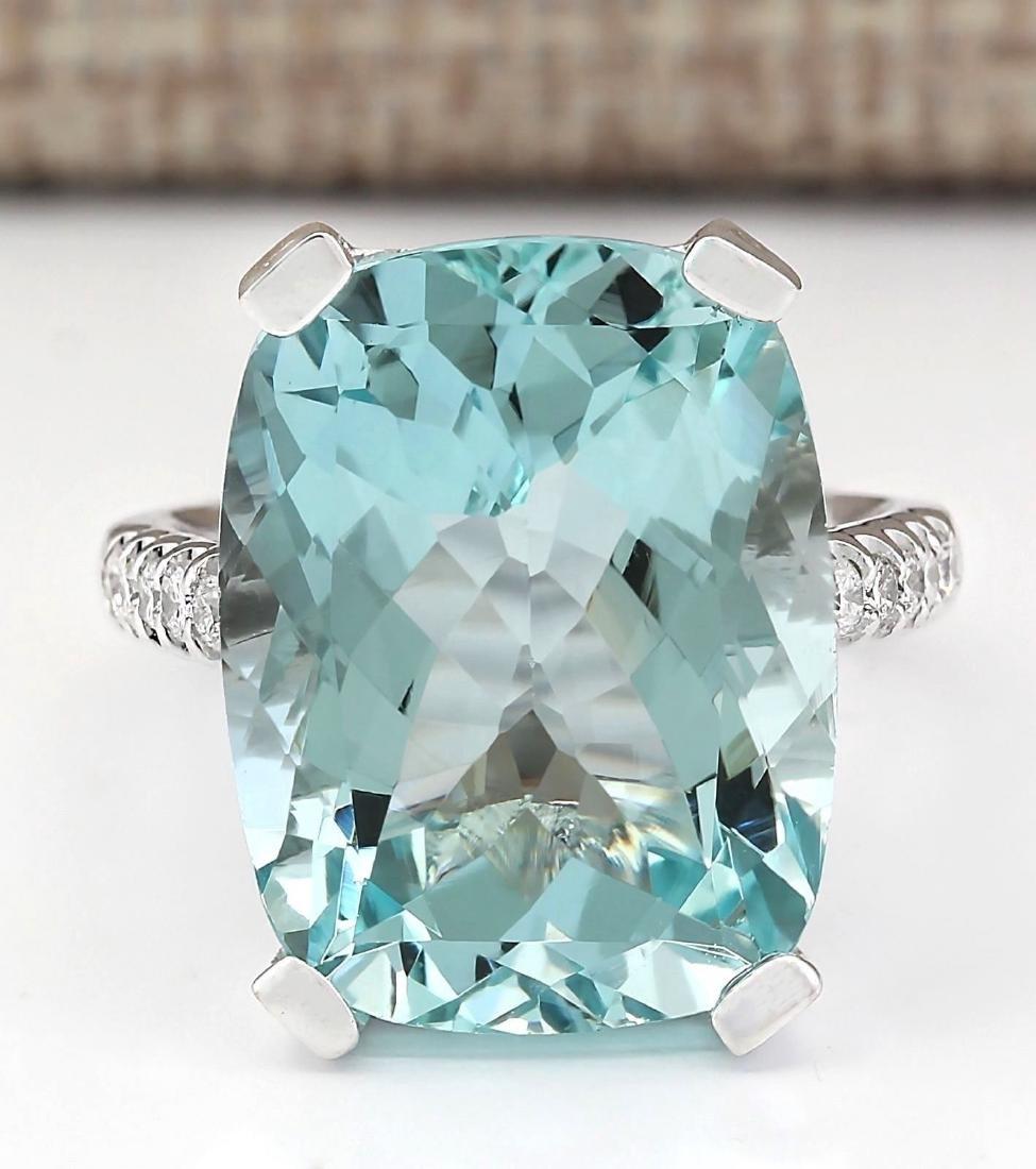 925 Silver  (CZ) Aquamarine  Ring Size:9