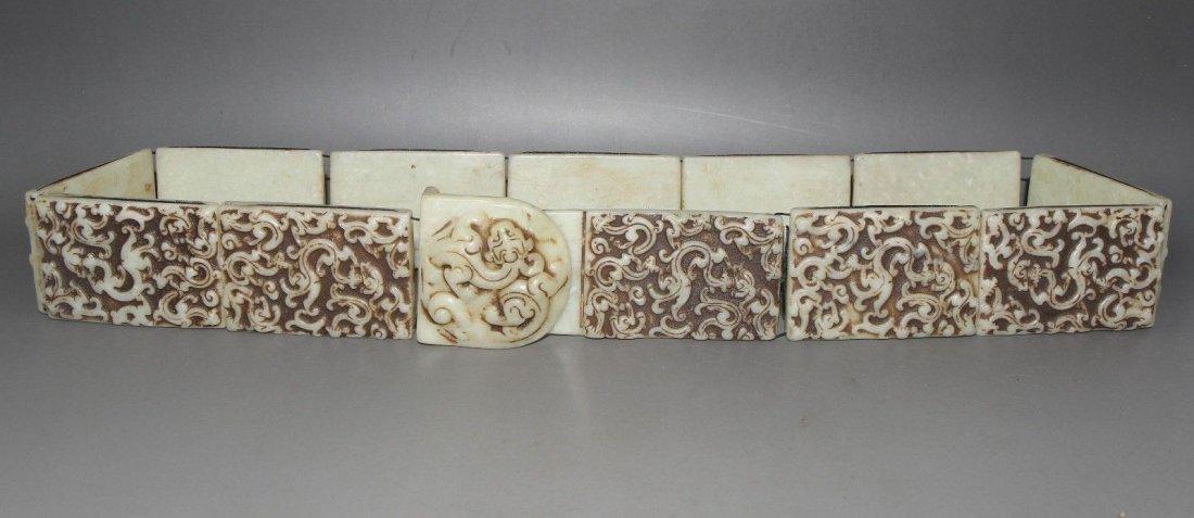 Antique  Chinese carved Jade belt  long - 2