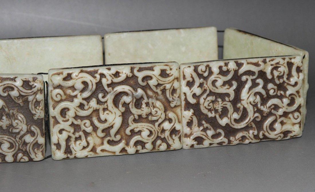 Antique  Chinese carved Jade belt  long - 5