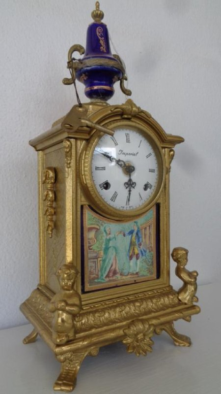 Porcelain and Bronze Imperial Mantle Clock w/ Keys