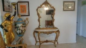 Marble Top Gold Gilded Console Table and Mirror