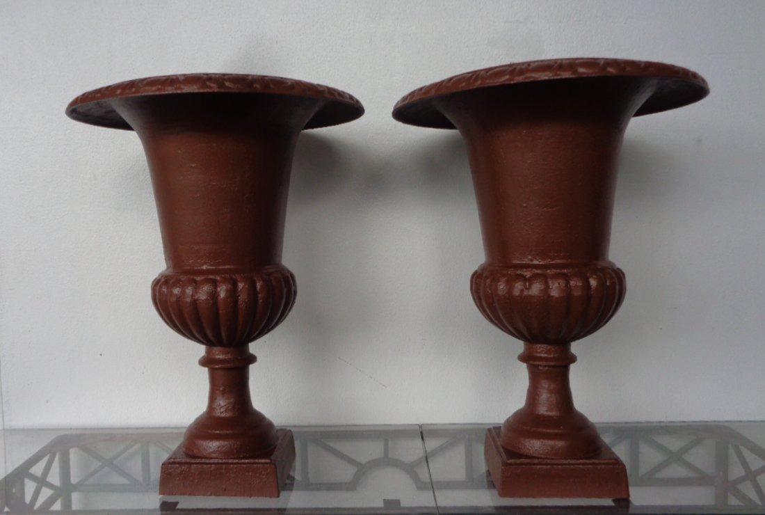 """Victorian Pair 24"""" Cast Iron Garden Urns Planter"""