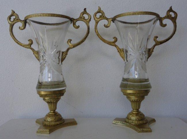 Pair Bronze & Crystal Glass Mounted Vase Center Piece