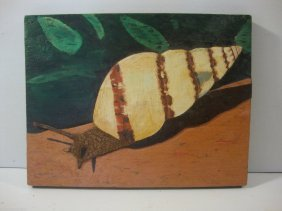 Snail Hand Carved and Painted on Board
