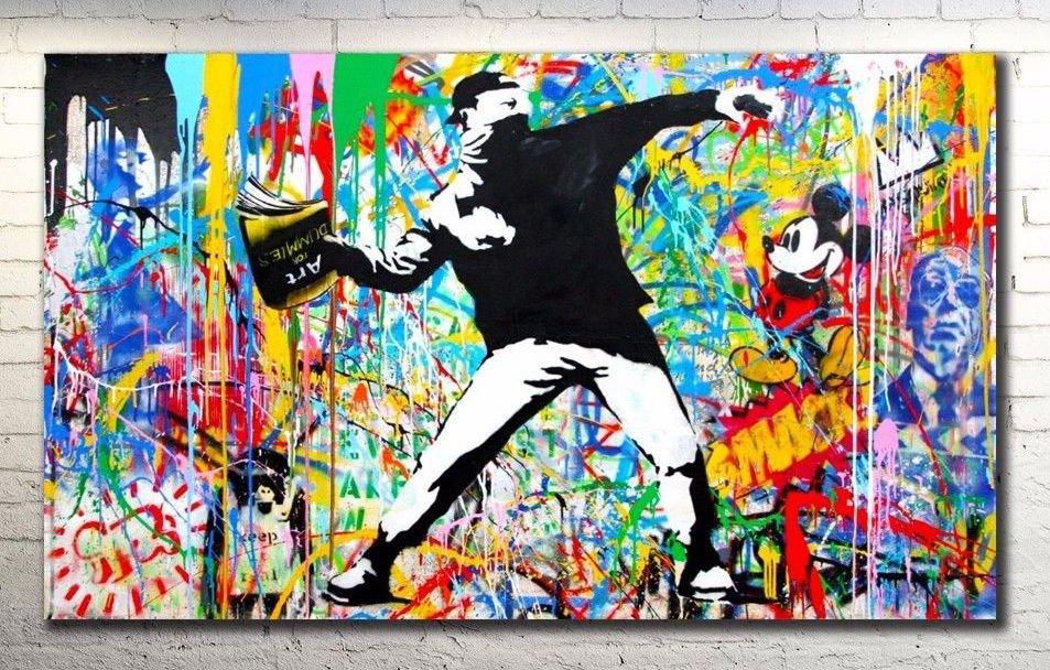Banksy Canvas Print Collage Graffiti NYC - 34 x 20