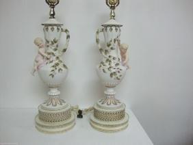 Cherub Floral Handle Hand Painted Porcelain or Ceramic