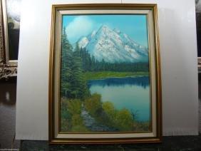 "P. T Signed ""Sea Lund "" Canada 1989 Landscape Oil Paint"