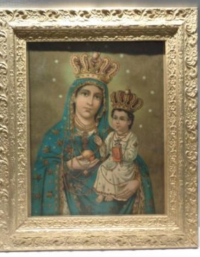 Antique Madonna Lithograph Printed in Germany