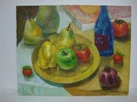 Original Oil Painting Still Life Fruit 16x20 Signed