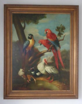 Large Painting on Canvas Exotic Tropical Birds