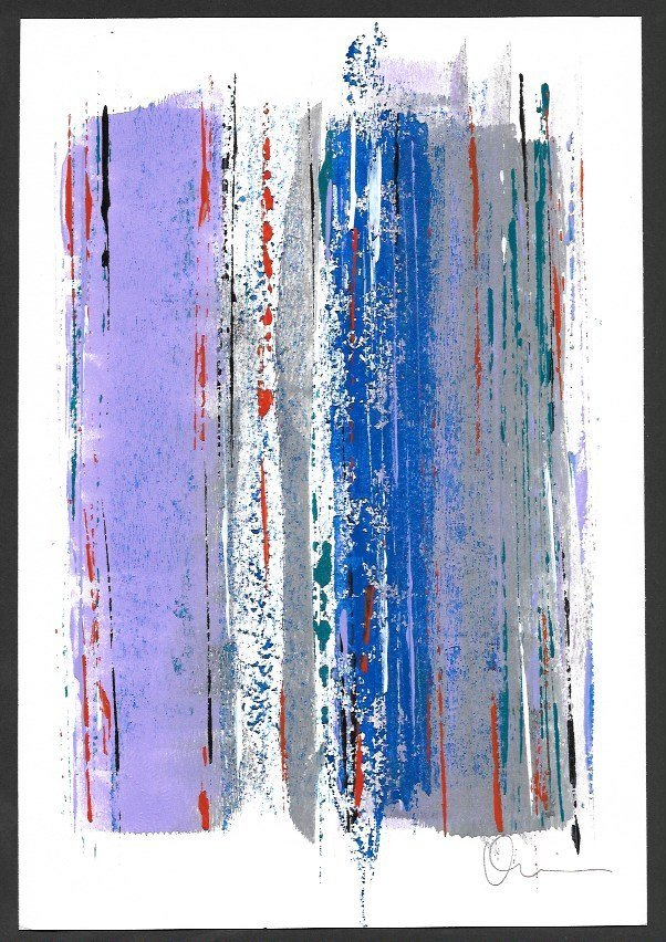 Original Abstract Modern Painting Signed on Back. Embos