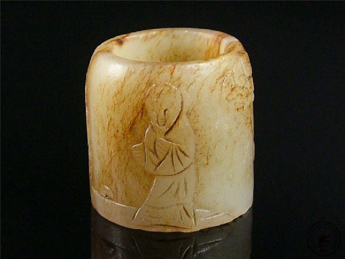 Antique Chinese Nephrite Celadon Jade Carved Ring Lands