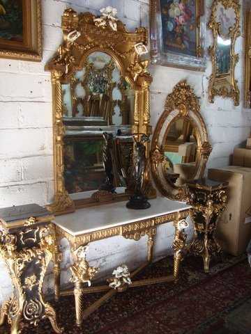 White Marble Top Gold Gilded Console Table and Matching