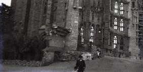Antique Glass Photographic Plate Sagrada Familia Gaudi