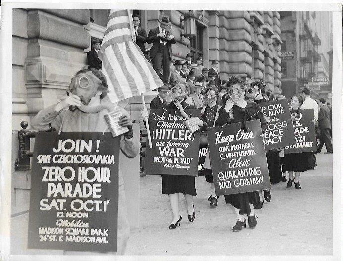 1938 New York Women Wearing Gas Masked Picket German Co