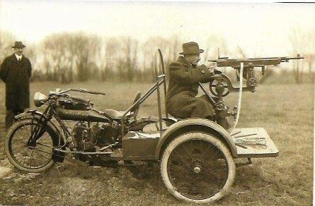 PHOTO of an Old Indian Motorcycle Machine Gun