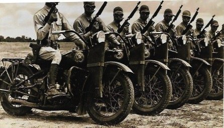Old Motorcycle Army with Guns & Rifles