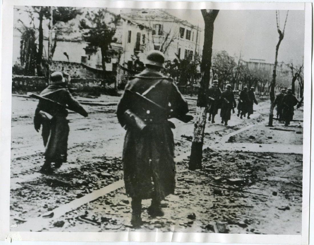 1944 German Troops Passing Through Bombed Italian Stree