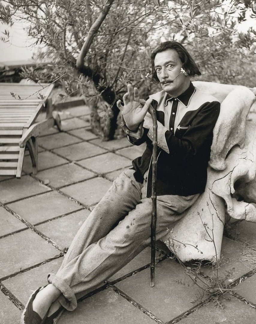 Rare Self Portrait Black & White Dali Spain