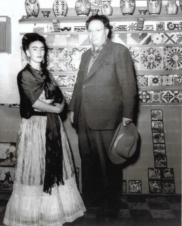 Rare Black & White Frida Kahlo & Diego Rivera
