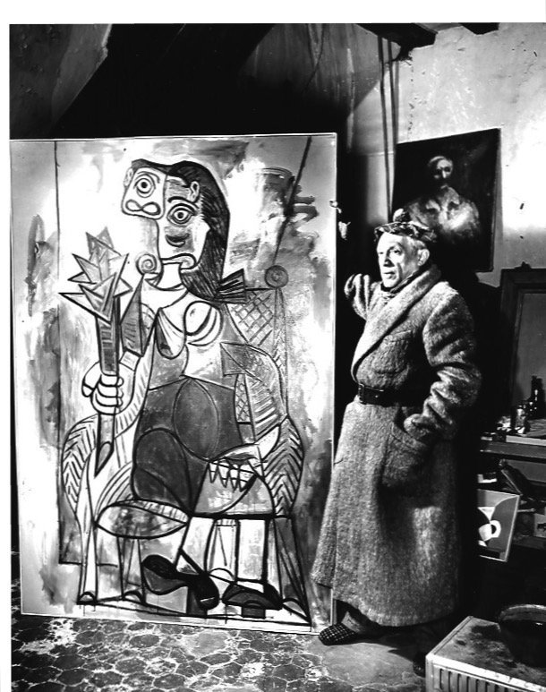 Black & White Pablo Picasso at His Study Spain