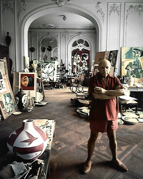 Black & White Pablo Picasso at His Study Photo - Spain