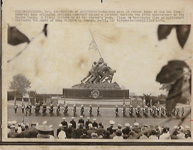 1970  Photo Marines at Iwo Jima Memorial.