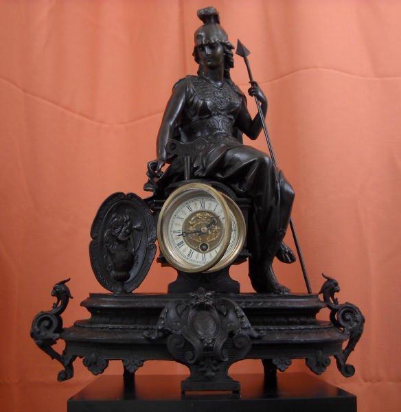 Bronze Mantel Clock Statue Minerva. With key. Work
