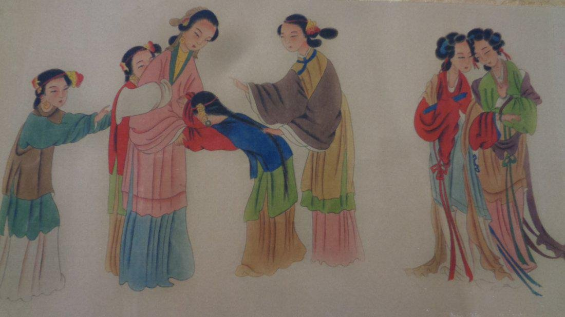 Antique Hand Painted Lady Chinese Long Scroll.
