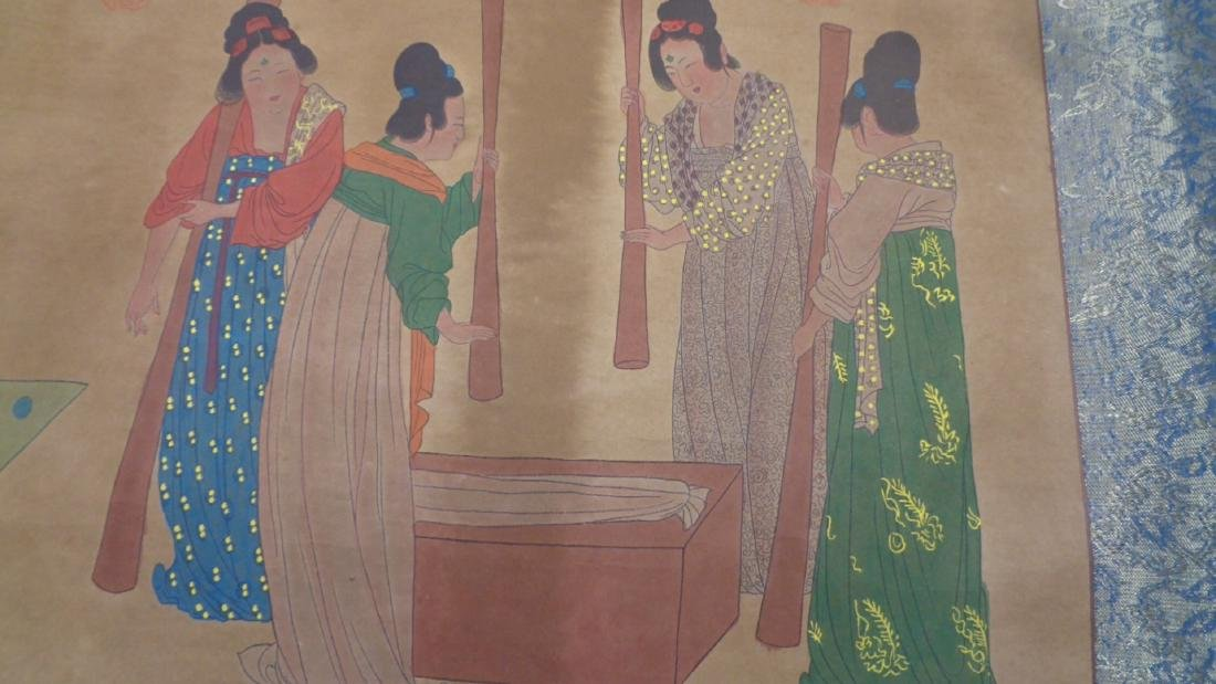 Large Hand Painted Colored Chinese Lady Scroll