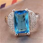 Aquamarine CZ 925 Silver Ring Size 9