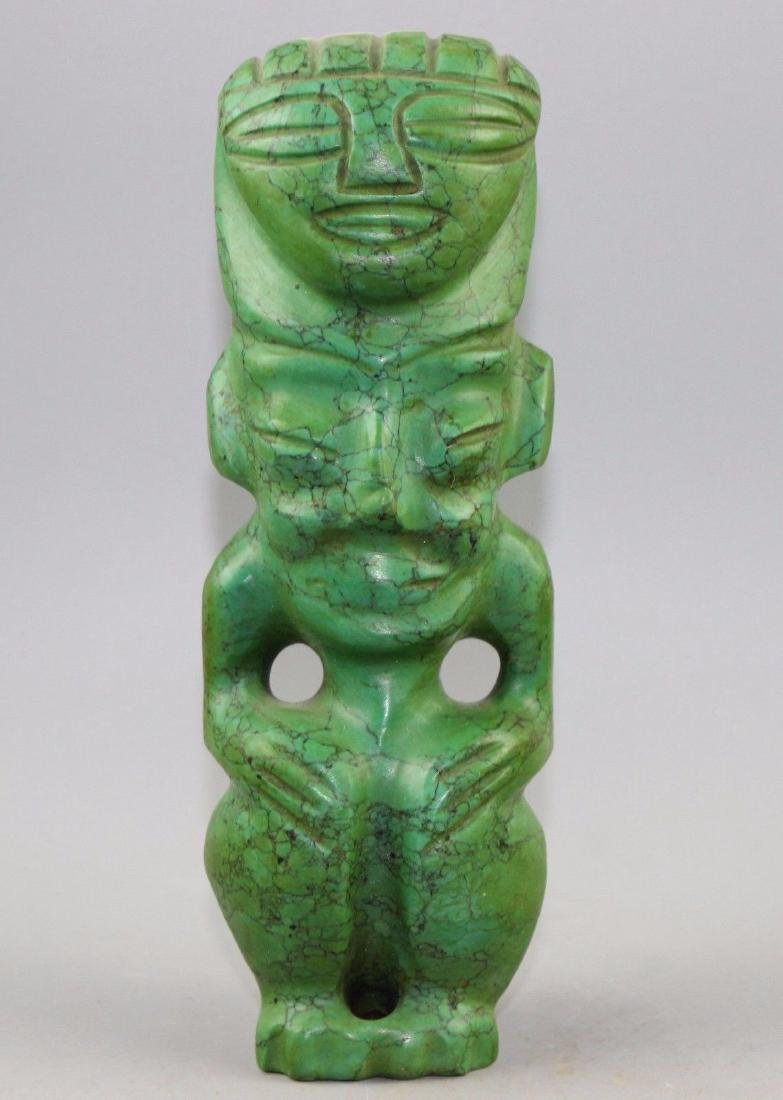 Large Ancient Chinese turquoise carved statue.