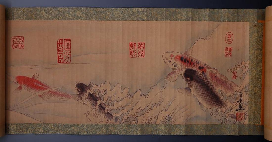 Large Antique Hand Painted Chinese Signed Fish Scroll: