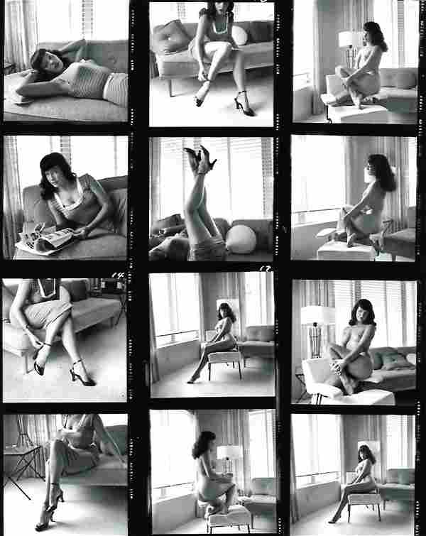 Rare Black and White Betty Page Contact Sheet Photo