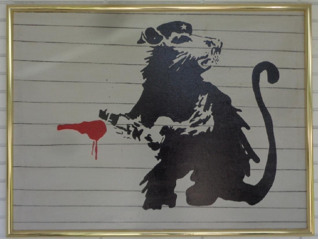 Original Street Art Painting on Canvas Banksy N York