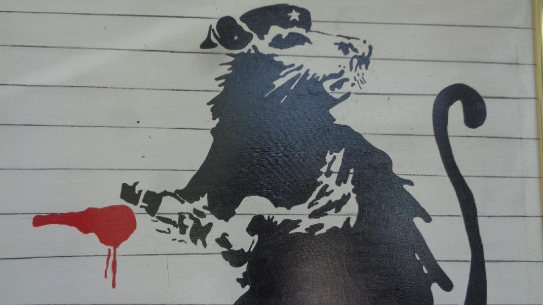 Original Street Art Painting on Canvas Banksy N York - 2