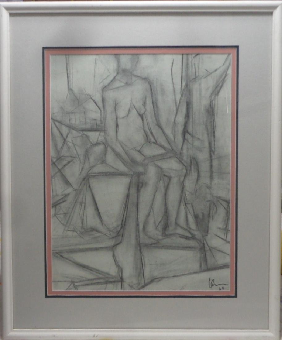 Original 1969 Charcoal-Pastel Cubist Abstract Nude Lady