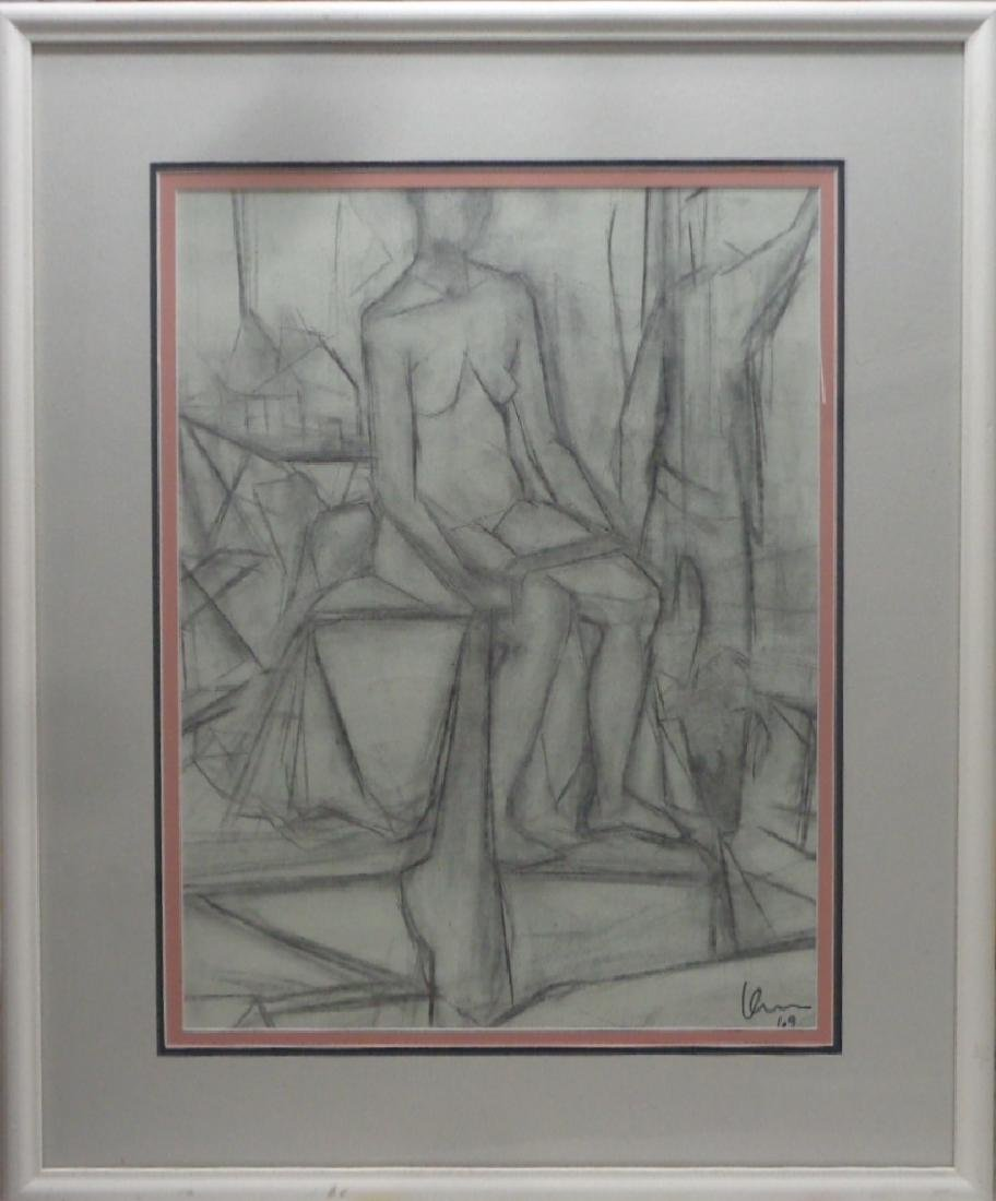 Original 1969 Charcoal-Pastel Cubist Abstract Nude Lady - 2