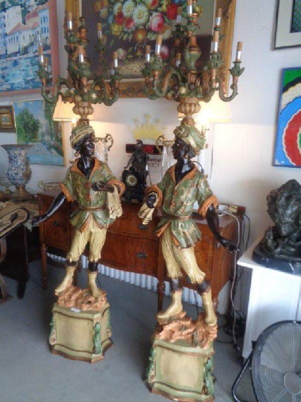 Pair Blackamoor Lamps Architectural Statue