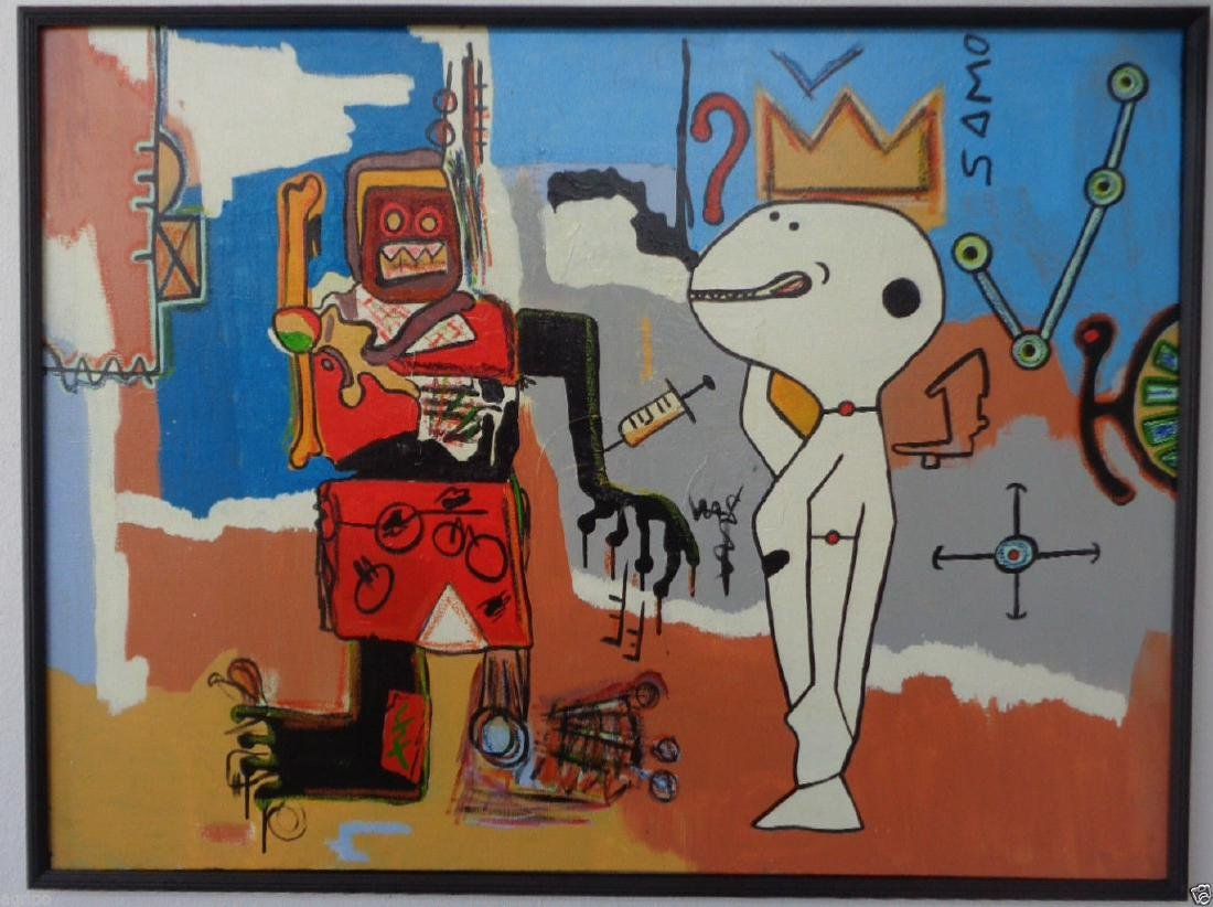 Original Street Art Painting on Canvas Basquiat N York