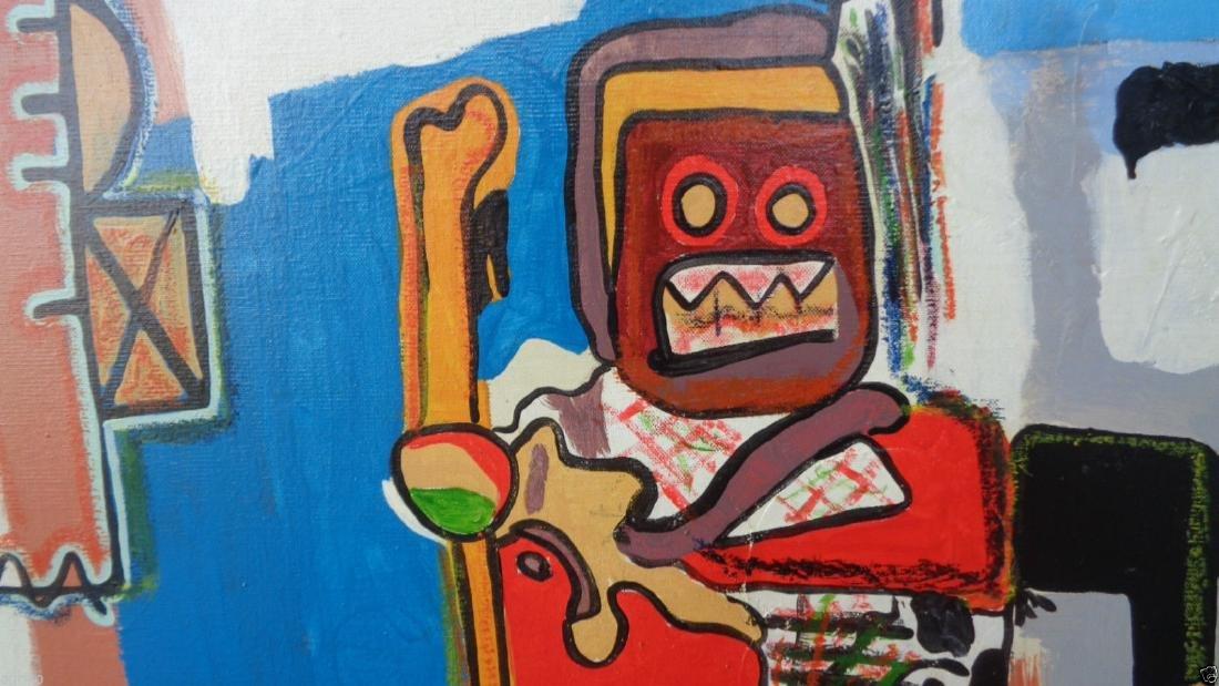 Original Street Art Painting on Canvas Basquiat N York - 6