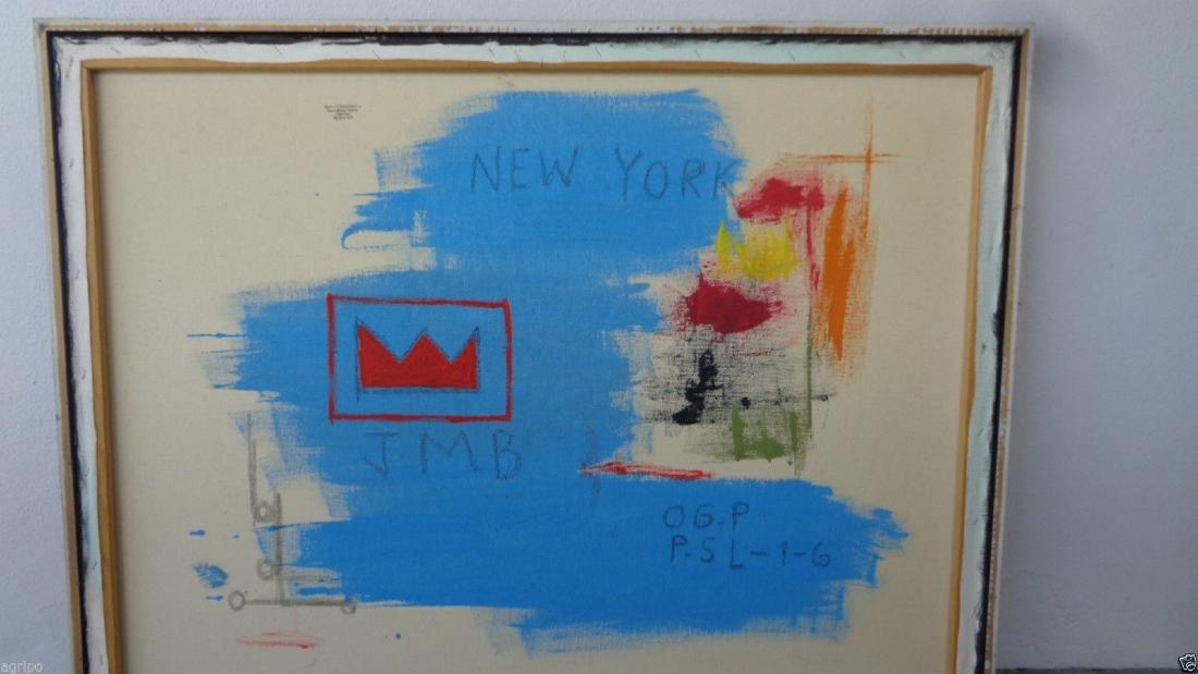 Original Street Art Painting on Canvas Basquiat N York - 7