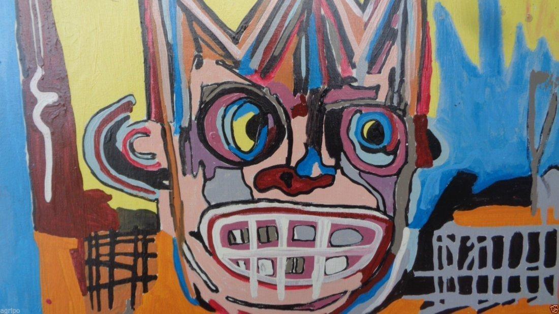 Original Street Art Painting on Canvas Basquiat N York - 2