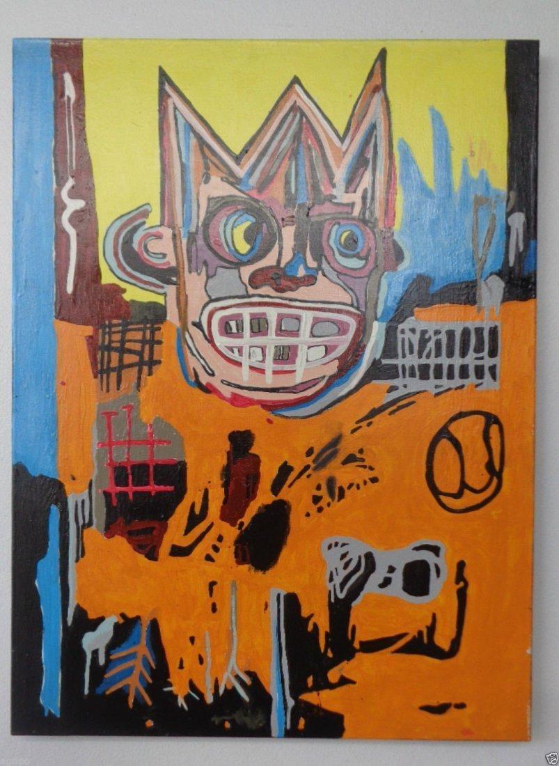 Original Street Art Painting on Canvas Basquiat N York - 5