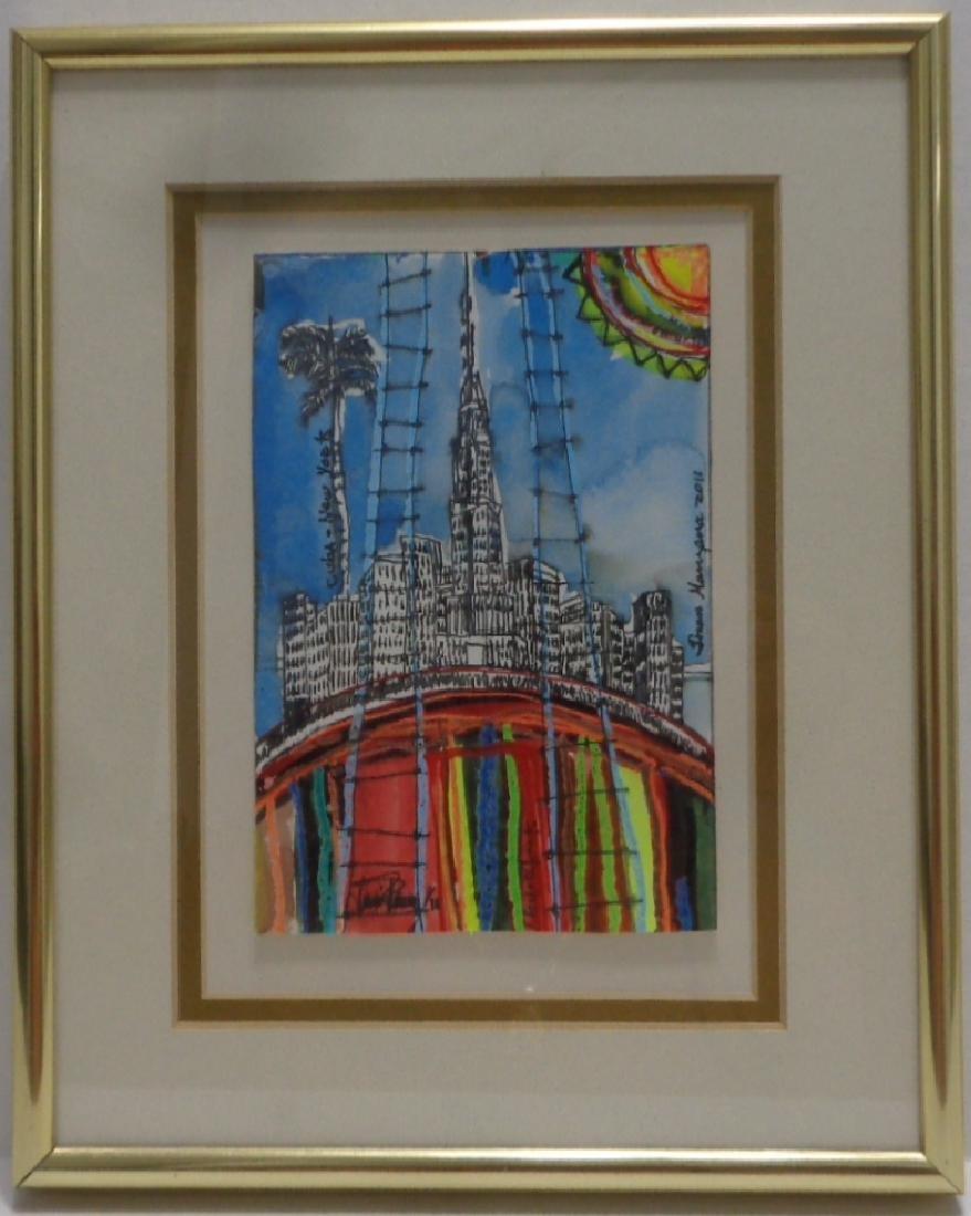 Original J Rivera - New York 2011 Painting Framed. Fra