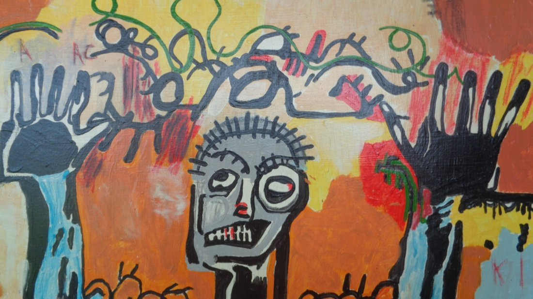 Original Street Art Painting on Canvas Basquiat N York - 4
