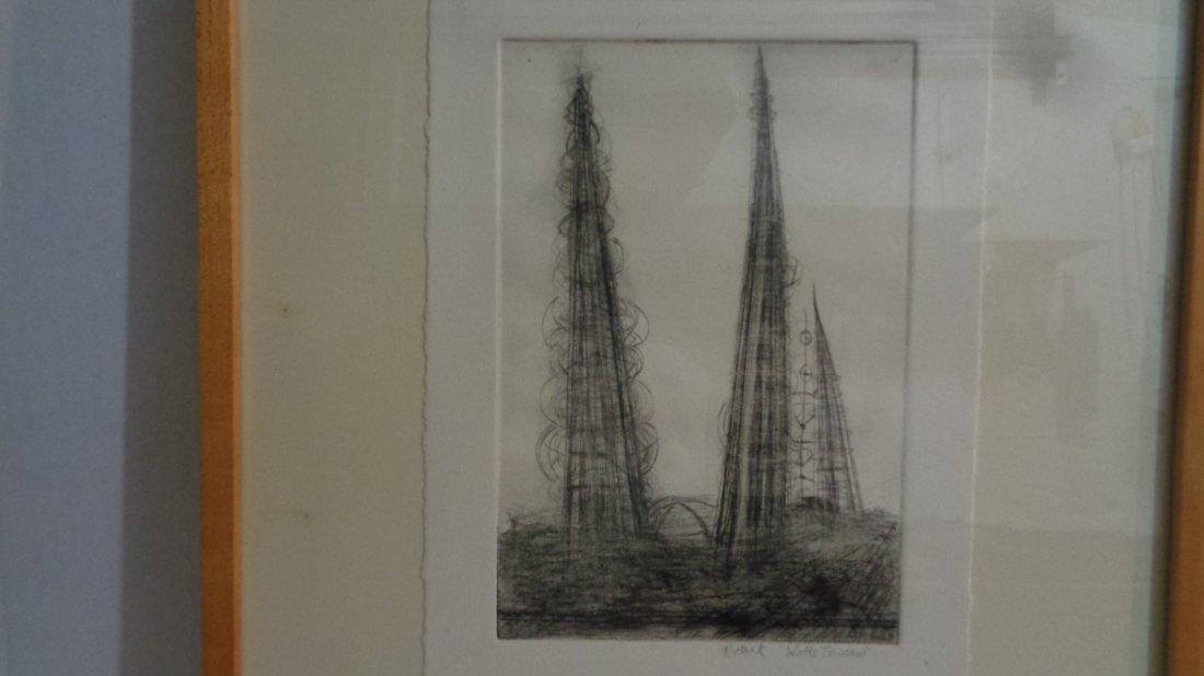"Watts Towers"" R. Mark Original DryPoint -Art Work:8"" x1 - 2"