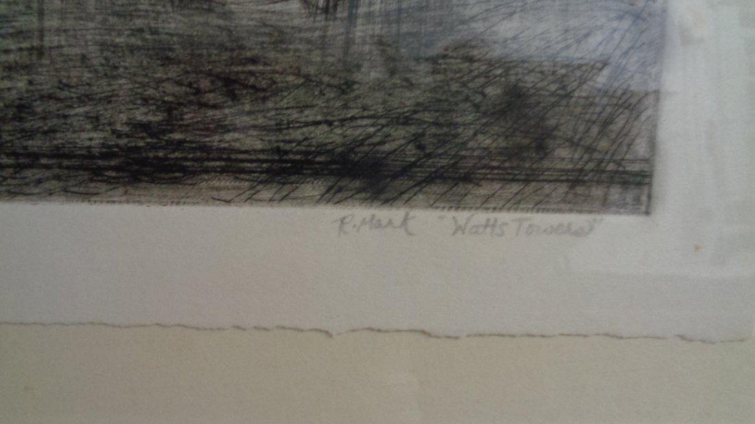 "Watts Towers"" R. Mark Original DryPoint -Art Work:8"" x1 - 3"